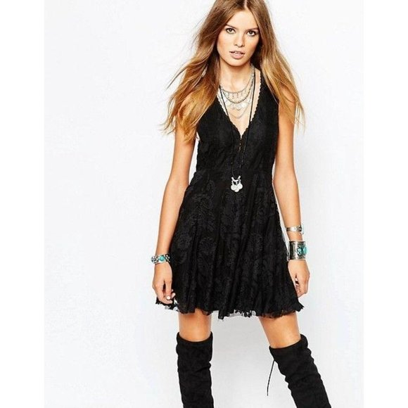 Free People Reign Over Me Lace Tank Dress in Black